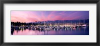 Framed Boats Moored In Harbor At Sunset, Santa Barbara Harbor, California