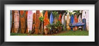 Framed Arranged Surfboards, Maui, Hawaii