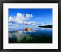 Framed Reflection Of Clouds And Boat On Water, Tahiti