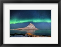 Framed Aurora Borealis Or Northern Lights With The Milky Way Galaxy, Iceland