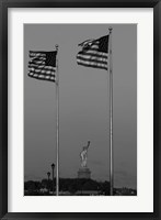 Framed Flags Fly Over Statue Of Liberty, Jersey City, New Jersey