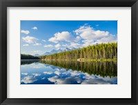 Framed Scenic Landscape Reflecting In Lake At Banff National Park, Alberta, Canada