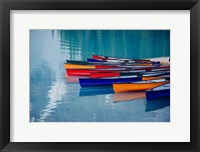 Framed Colorful Rowboats Moored In Calm Lake, Alberta, Canada
