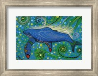 Framed Humpback Swimming with Yellow Bubbles