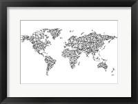 Framed Hanzi Kangi World Map