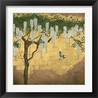 Framed Wisteria with House Finch