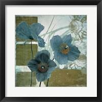 Framed Cerulean Poppies I