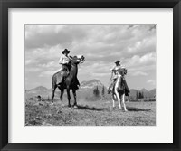 Framed Pair Of Cowboys On Horseback At Glacier Fifty Mountain Camp