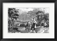 Framed June 1752 Benjamin Franklin Out Flying His Kite In Thunderstorm As An Experiment In Electricity And Lightning
