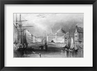 Framed Skyline Boston Massachusetts From Waterfront Showing Fanueil Hall Engraving By T. A. Prior From Bartlett