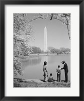 Framed Family At Washington Monument Amid Cherry Blossoms