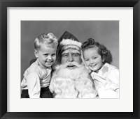 Framed Santa Claus Posing With Young Boy And Girl