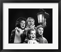 Framed Children Singing Christmas Carols Outdoor By Lantern Light