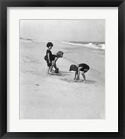 Framed 3 Kids Playing In The Sand On The New Jersey Shore