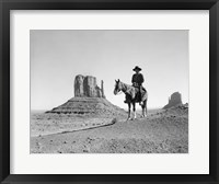 Framed Navajo Indian In Cowboy Hat On Horseback With Monument Valley Rock Formations In Background