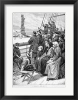 Framed Group Of Arriving Immigrants Huddled On Ship Deck Waving At Statue Of Liberty