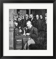 Framed Engraving Of Alexander Graham Bell Making First Long Distance Telephone Call From New York To Chicago In 1892