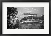 Framed Steamboats Rounding A Bend On Mississippi River Parting Salute Currier & Ives Lithograph 1866