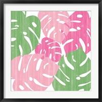 Framed Monstera II Hot Pink