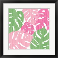 Framed Monstera II Hot Pink