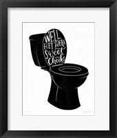 Framed Bathroom Puns IV Black