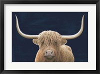 Framed Highland Cow Navy