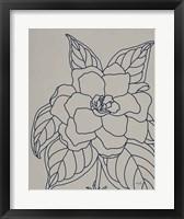Framed Gardenia Line Drawing Gray Crop