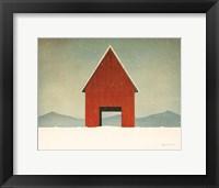 Framed Red Barn Winter