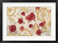 Framed Elegant Fresco Red Gold