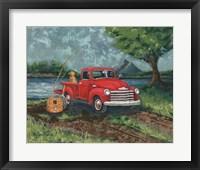 Framed Red Truck Fishing Buddy