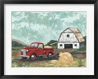 Framed Red Truck at the Barn