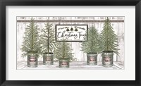 Framed Galvanized Pots White Christmas Trees II
