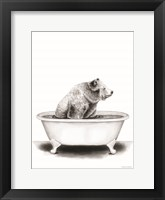 Bear in Tub Framed Print