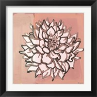 Framed Pink and Gray Floral 1