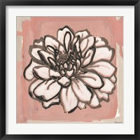 Framed Pink and Gray Floral 2