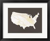 Framed Marble Gold USA Map