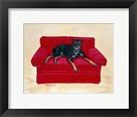 Framed Dobie on Red