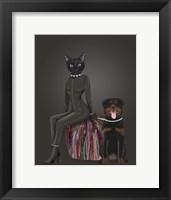 Framed Black Cat and Rottweiler