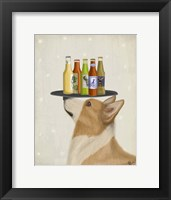 Framed Corgi Tan White Beer Lover