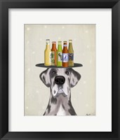 Framed Great Dane Harlequin Beer Lover