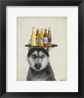 Framed Husky 2 Beer Lover