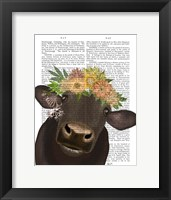 Framed Cow with Flower Crown 1 Book Print