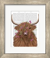 Framed Highland Cow 1, Pink Flowers Book Print