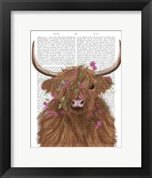 Framed Highland Cow 1, Pink Flowers Book Print
