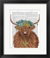 Framed Highland Cow Bohemian 1 Book Print