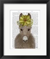 Framed Donkey Sunflower Book Print