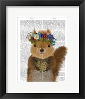 Framed Squirrel Bohemian Book Print