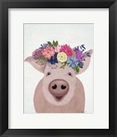 Framed Pig and Flower Crown