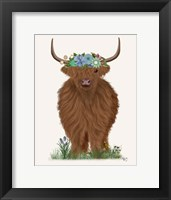 Framed Highland Cow with Flower Crown 2, Full
