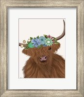Framed Highland Cow with Flower Crown 2, Portrait